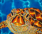 Aquatic Tapestries - Textiles Originals - Green Sea Turtle by Daniel Jean-Baptiste