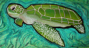 Turtle Mixed Media Metal Prints - Green Sea Turtle Metal Print by Laura Barbosa
