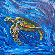 Save The Sea Turtle Paintings - Green Sea Turtle by Lovejoy Creations
