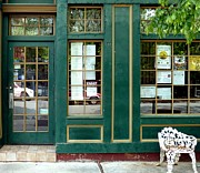 Stoops Prints - Green Shop Door Print by Sally Simon
