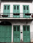 Green Door Prints - Green Shutters in New Orleans Print by John Rizzuto