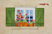 Mary Ellen  Mueller-Legault - Green Shutters with Red...