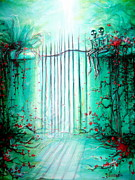 Gateway Paintings - Green Skeleton Gate by Heather Calderon