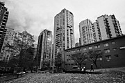 Overcast Day Photo Prints - Green Space In Front Of High Rise Apartment Condo Blocks In The West End Between Robson And West Geo Print by Joe Fox