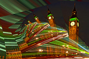 Minster Prints - Green Spiral Big Ben Print by Karl Wilson