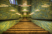 Escalator Prints - Green stairs Print by Nathan Wright
