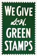 Old Stamps Framed Prints - Green Stamps Framed Print by James Eddy