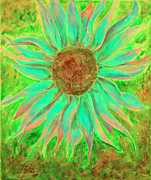 Signed Digital Art Posters - Green Sunflower Poster by Shannan Peters