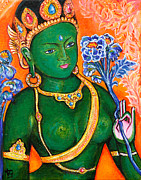 Buddha Paintings - Green Tara 1 by Peta Garnaut