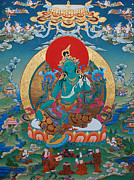 Tibetan Buddhism Painting Framed Prints - Green Tara Framed Print by Binod Art School