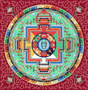 Thangka Prints - Green Tara Mandala Thangka Print by Ies Walker