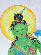 Green Chakra Prints - Green Tara Print by Sarah Grubb