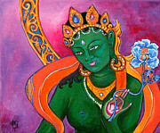 Lotus Paintings - Green Tara with Lotus by Peta Garnaut