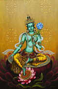 Tibetan Buddhism Paintings - Green Tara by Yuliya Glavnaya