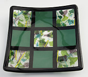 Fused Glass Glass Art - Green Tic Tac dish by Ron Harpham
