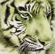 Summer Celeste Painting Posters - Green Tiger Poster by Summer Celeste