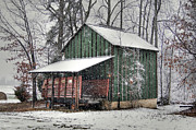 Snow On Barn Posters - Green Tobacco Barn Poster by Benanne Stiens