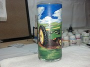 Field Glass Art - Green Tractor by Dan Olszewski