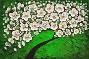 Tree Blossoms Paintings - Green tree by Mariana Stauffer