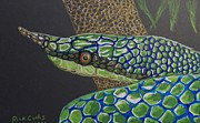 Whip Snake Prints - Green Tree Snake Print by Richard Goohs