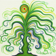 Gouache Paintings - Green Tree with Orange by Nina Kuriloff