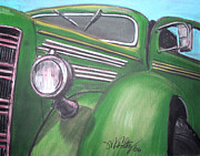 Muscle Pastels Metal Prints - Green Truck Metal Print by Michael Foltz