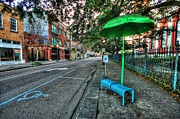 Michael Thomas Prints - Green Umbrella Bus Stop Print by Michael Thomas