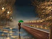 Rain Digital Art Metal Prints - Green umbrella Metal Print by Veronica Minozzi
