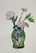 Olive Green Drawings Posters - Green Vase with Pink Camillia and White Peony Poster by Asha Carolyn Young