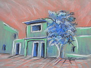 Adobe Buildings Pastels Posters - Green Village Poster by Marcia Meade