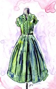 1950s Fashion Painting Posters - Green Vintage Shirtwaist Dress Poster by Johanna Pabst