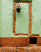 Riquewihr Prints - Green Wall and Hanging Basket in Alsace France Print by Greg Matchick