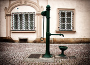 Old Water Pump Prints Prints - Green Water Pump Print by John Rizzuto