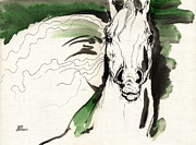Drawing Painting Originals - Green Wild Horse Ink And Acrylic Painting 16 07 2013 by Angel  Tarantella