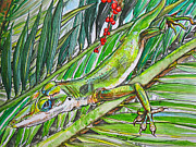 Lizards Paintings - Green With Envy by Kelly     ZumBerge