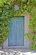 Medieval Village Prints - Green Wood Door of Tuscany Print by David Letts
