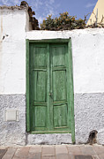 Patricia Hofmeester Metal Prints - Green wooden door Metal Print by Patricia Hofmeester
