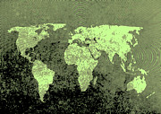 Old Map Digital Art - Green world map by Steve Ball