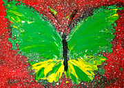Green.wings Prints - Green Yellow Butterfly with red background Print by Patricia Awapara