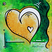 Unique Art Posters - Green Yellow Heart Love Painting Pop Art Peace by Megan Duncanson Poster by Megan Duncanson