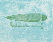 Basket Drawings Prints - Green Zeppelin - Retro Air Ship Print by World Art Prints And Designs