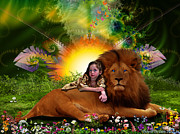 Lion Of Judah Posters - Greener Pastures  Poster by Dolores DeVelde