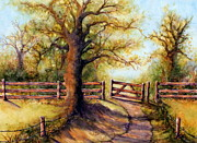 Woods; Shadows; Trees Paintings - Greener Pastures by Janine Riley