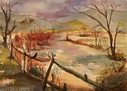 Split Rail Fence Originals - Greeneville Marsh by Barbara McGeachen