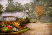 Morning Fog Prints - Greenhouse -  Early morning and tending to the flowers Print by Mike Savad