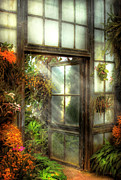Flower Gardens Prints - Greenhouse - The door to paradise Print by Mike Savad