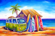Vw Bus Posters - Greenie Poster by Deb Broughton