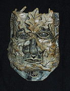 Man Ceramics Metal Prints - Greenman Metal Print by John Keasler