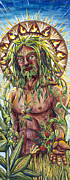 Mysteries Painting Posters - Greenman Sun King Poster by Helga HedgeWalker