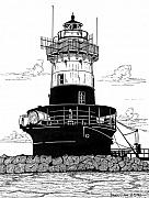 Lighthouse Drawings Framed Prints - Greens Ledge Light Framed Print by Bruce Kay